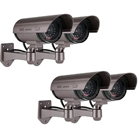 Kabalo 4 x Realistica falsa Telecamera Dummy sicurezza Sorveglianza CCTV LED rosso lampeggiante Indoor Argento [4 x Realistic Fake Dummy CCTV Security Camera Flashing Red LED Indoor Outdoor Silver]