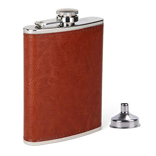 ZYBC 8 Unzen Flasche Für Alkohol Und Trichter Auslaufsicher Edelstahl Männer Hip Pocket Trinkflasche Mit Braunem Leder (8 Unzen Flasche Für Männer)
