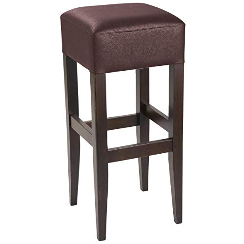 Barhocker Rialto, 35x35x81cm (BxTxH), Sitz braun, Gestell nussbaum, 2 Stück/Packung - Vega-barhocker
