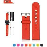 Bemodst Carcasa de silicona y correa, Wirstband de repuesto con herramientas para Garmin D2/Fenix Fenix2/fenix3/fenix3 HR/Quatix/quatix3/Tactix, rojo