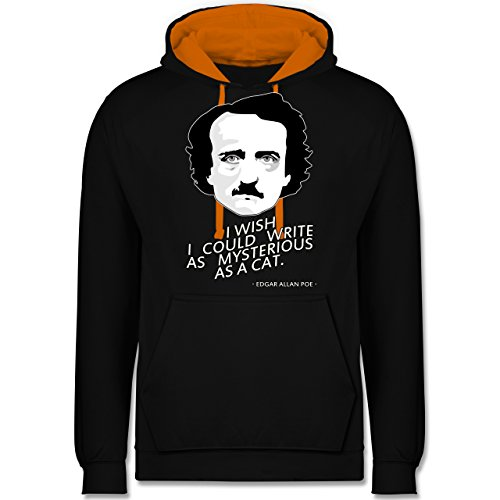 Statement Shirts - Edgar Allan Poe - I wish I could write as mysterious as a cat - Kontrast Hoodie Schwarz/Orange