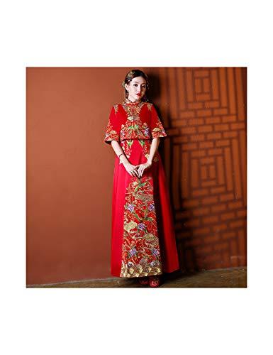Chinese Kostüm Oriental - ATLD Cheongsam Oriental Chinese Emobroidery Cheongsam Elegantes Stehkragen Dame Qipao Rot Ehe Kleid Anzug Weibliche Abendkleider,Rot,M
