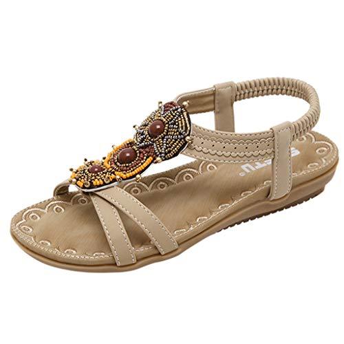 Damen Flach Sandalen Sommer Bohemia Frauen Mädchen Böhmischen Mode Flache Beiläufige Sandalen Strand Sommer Flache Schuhe Frau Geschenk (EU:35, Beige) - Beige Thong