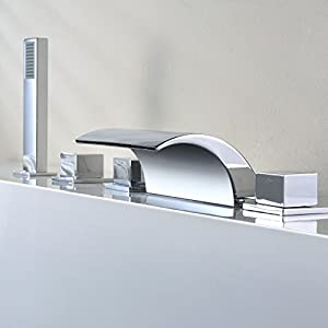 Auralum Sistema Ducha para Bañera Grifo de Ducha Bañera Cascada Acero Inox Ducha de Mano Extraible Cinco Orificio para…