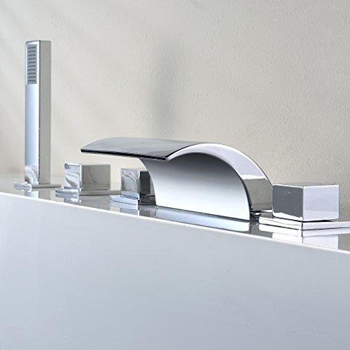 Kinse Duschsystem Wannenbatterie Badewannenarmatur Zeitgenössische 5 Loch-Set Wasserfall Badewanne Wasserhahn Handbrause für Bad Badezimmer -