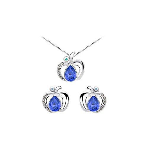 Parure pomme cristal swarovski elements plaqué or blanc Bleu roi