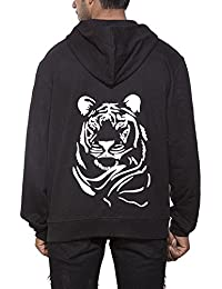 Clifton Men's Printed Sweat Shirt With Hood -Black-Tiger Face-W