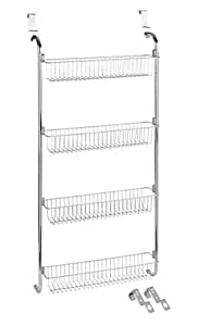 Wenko 4340033100 Chrome Door Shelf with 4 Storage Baskets, 49.5 x 109 x 14 cm