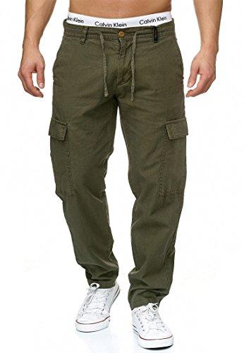 INDICODE Herren Leonardo Leinen-Hose lange Cargo Hose bequeme Stoffhose aus hochwertiger Leinenmischung Army L