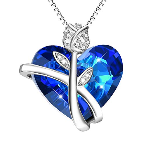 Kette Rose Blume 925 Sterling Silber Herz Halskette Damen Anhänger mit Blauen SWAROVSKI®-Kristallen Schmuck Geschenk für Frau (925 Halskette)