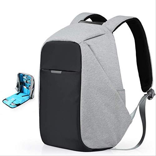 CFDG Rucksack Unisex Rucksack Männer Frauen Schultasche Jungen Mädchen Schulranzen 15.6 Laptop Rucksack USB Charge Trend Fashion 17 18 Zoll 17 Zoll Upgrade Grau