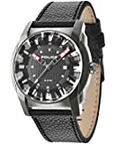 Police Gravity Men's Quartz Watch with Black Dial Analogue Display and Black Leather Strap 14253JSU/02