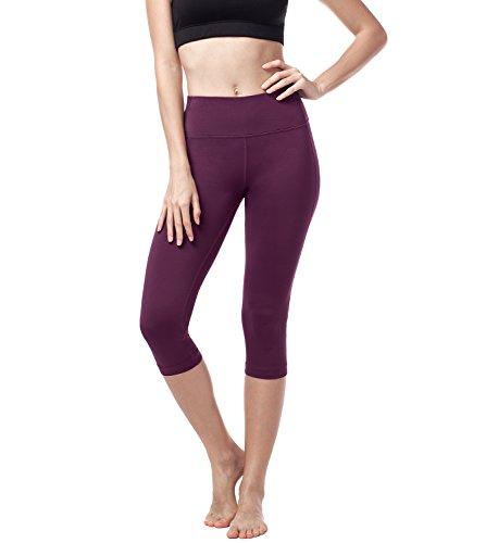 Lapasa donna capri leggings 3/4 allenamento opaco yoga fitness spandex palestra pantaloni l02 (m/42(vita 71-74), bordeaux)