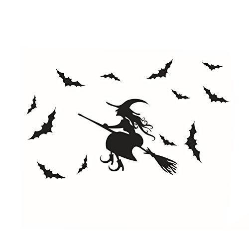 Aufkleber-Hexe-Schläger-Wand-Aufkleber-Wand-Dekor-Ausgangs-Abziehbild (Halloween Dekor Online)