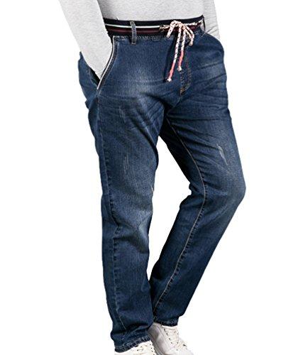 Sentao Herren Jeans Casual Hose Elastischer Bund Mit Kordelzug Übergröße  Elastizität Jogging Jeans Mittleres Blau 4XL 4ed76b1967
