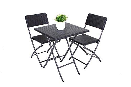 3tlg. Balkon Set Garten Tisch Stuhl Klapptisch Klappstuhl Stühle Rattan Optik