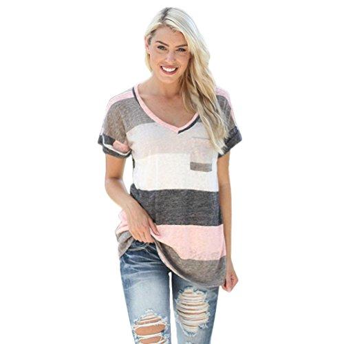 Hevoiok Damen Sommer Kurzarm Shirt Rosa Streifen Lose Bluse Hemd Oberteile Neu Frauen Casual Hemdbluse Tops mit Tasche (Grau, L)