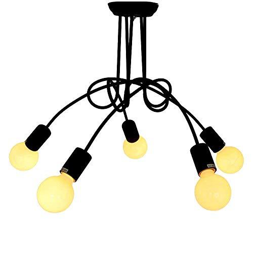 / Semi Flush Mount Deckenleuchte Metal Style Binden Sie einen Knoten Fixture Industrial Vintage mit 6 light-Black -