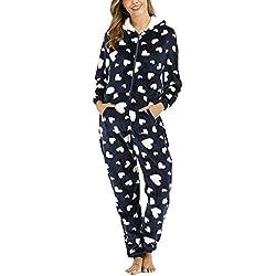 besbomig Combinaison Pyjama à Capuche Femme Chaud Homewear Vêtement de Nuit - Casual Tout en Un Chemise de Nuit Combinaison grenouillère