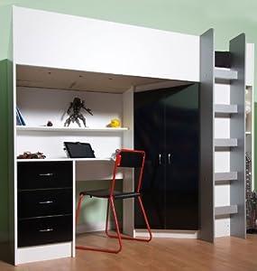 High Sleeper Calder White / High Gloss Black High Bed M227 Hgb