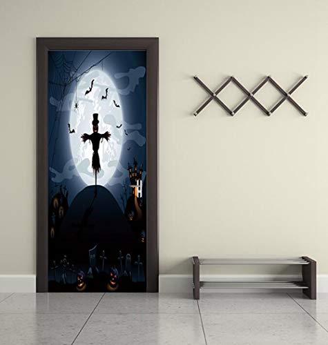 QTXINGMU Happy Halloween Einzigartige Hexe Bat Tür Aufkleber Wallpaper Wandaufkleber Home Dekoration Aufkleber Dekor