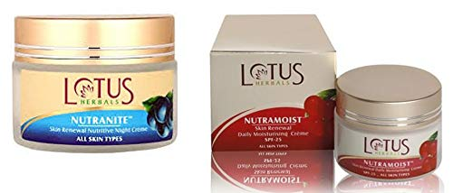 Lotus Herbal Nutranite Skin Renewal Nutritive Night Creme, 50g and Lotus Herbals Nutramoist Skin Renewal Daily Moisturising Creme, SPF 25, 50g