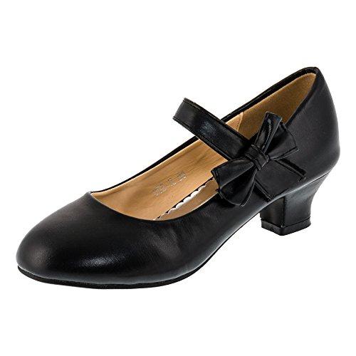Max Shoes Festliche Mädchen Pumps High Heels mit Schleife und Klettverschluss (28, 182sw Schwarz) (Heels Baby-rosa)