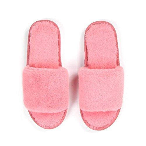 Mhgao pantofole in lana da donna Home interior Leisure piattaforma calde pantofole Pink