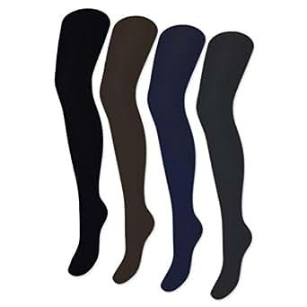 1 bis 4 Damen Strumpfhosen Strickstrumpfhose Baumwolle Schwarz Blau Braun Grau Unifarben - 89203 (42/44, Grau)