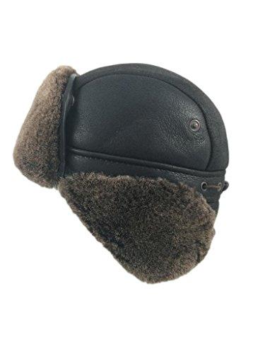 Zavelio Men's Shearling Sheepskin Aviator Russian Ushanka with Snap Hat
