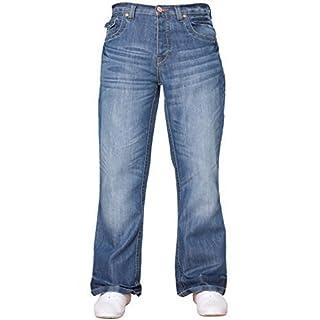 APT Herren einfach blau Bootcut weites Bein ausgestellt Works Freizeit Jeans Große Größen in 3 Farben erhältlich - Helle Waschung, 36W x 34L