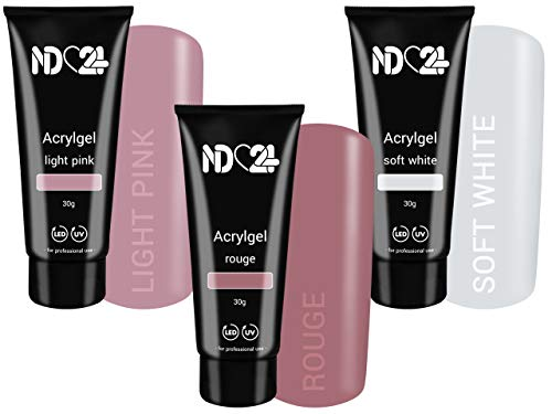 3 x 30g POLY ACRYLGEL TUBE - PREMIUM SPAR SET - BABYBOOMER LOOK - MADE IN GERMANY - Acryl Gel LIGHT PINK + ROUGE + SOFT WHITE - LED/UV Acryl-Gel Nägel Modellage System - STUDIOQUALITÄT