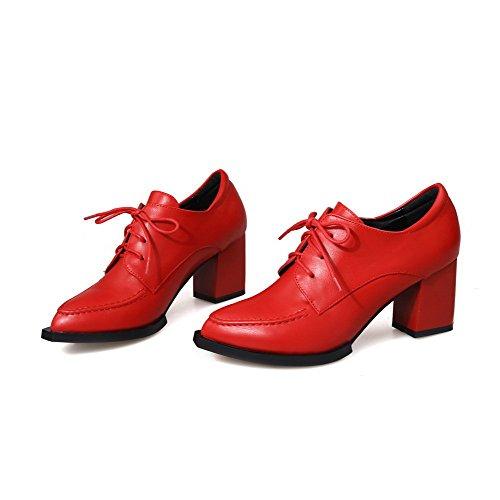 VogueZone009 Femme à Talon Correct Couleur Unie Lacet Fermeture D'Orteil Pointu Chaussures Légeres Rouge