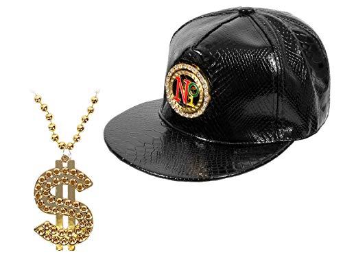 Alsino Rapper Kostüm Hip Hop Fasching Outfit (Kv-107) - goldene Dollar Bling Bling Kette mit Snapback No1 ()