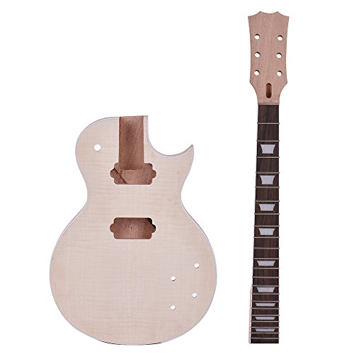 ammoon Diy Guitar Kits Unfinished Elektrische E-Gitarren LP Stil Unfinished E-gitarre DIY Kit Set Mahagoni Körper & Hals Rose Holz Griffbrett - Gitarre Kits Elektrische