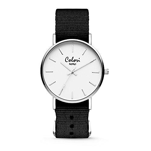 Colori XOXO 5-COL543 - Horloge - nato band - donkerbruin - ø 36 mm - Frauen Xoxo Watchs