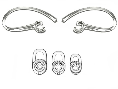 Replacement Set: 2 Earhooks and 3 S/M/L Ear Adapters Tips Compatible with Plantronics Explorer 80 110 120 500, Voyager 3200 3240 Edge, M25, M70,M90,M95,M100,M155,Marque 2 M165, Discovery 925 975 975SE -