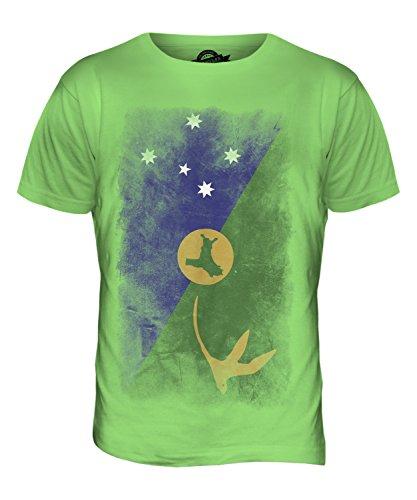 CandyMix Weihnachtsinsel Australien Verblichen Flagge Herren T Shirt Limettengrün