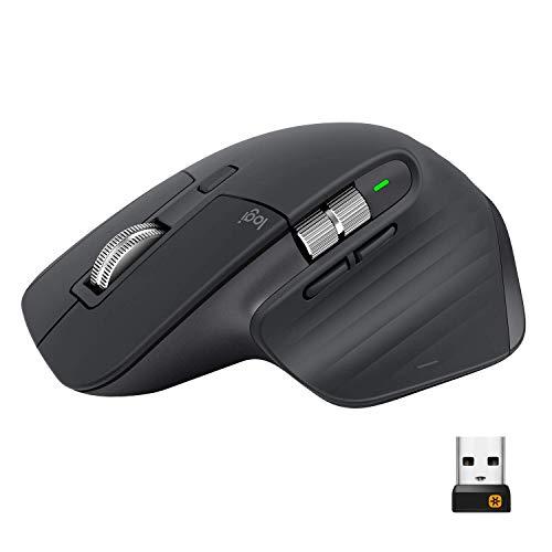 Logitech MX Master 3 Mouse Wireless Avanzato, Ricevitore Bluetooth o USB 2.4 GHz, Scorrimento Rapido, 4000 DPI Qualsiasi Superficie, Ergonomico, 7 Pulsanti, PC/Mac/Laptop/iPadOS, Grigio Scuro