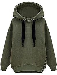Minetom Mujer Otoño Invierno Moda Holgado Sudaderas Con Capucha Manga Larga Lado Cremallera Chaquetas Abrigos