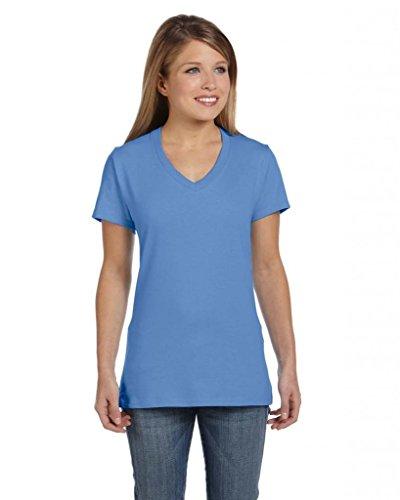 Hanes Damen T-Shirt Nano-T, V-Ausschnitt Vintage-Blau