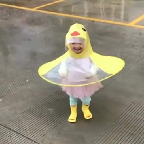 WEIWEITOE Fliegende Untertasse Regenmantel Kinder Cartoon gelbe Ente Regenmantel UFO Form Regenschirm Faltbare Regenmantel mit Kapuze Poncho Mantel, gelb, S