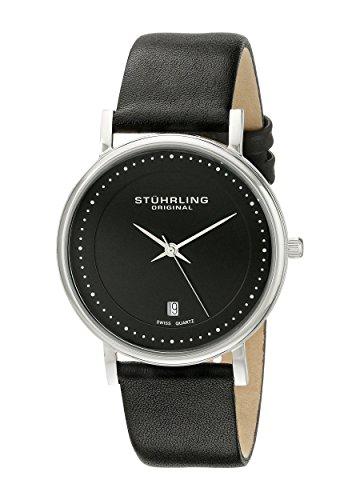 Stuhrling Original 734G.02 - Montre Quartz - Affichage Analogique Bracelet Cuir noir et Cadran Noir - Hommes