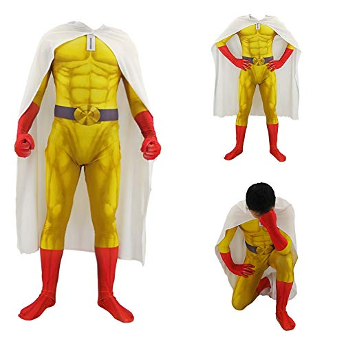 HEROMEN EIN Faustschlag Superman Cosplay Kostüm Japanische Anime Lycra Siamese Strumpfhosen Weihnachten Halloween Kostüm Für Erwachsene/Kinder,YellowAdult-M (Japanische Kostüm Für Erwachsene)