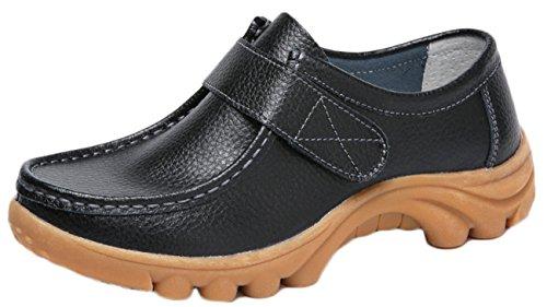NEWZCERS Driving Shoes Molli Delle Donne di Cuoio Velcro Appartamenti Mocassini Scarpe da Barca Fustigano Nero