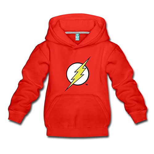 Spreadshirt DC Comics Justice League Flash Logo Kinder Premium Hoodie, 152/164 (12-14 Jahre), Rot