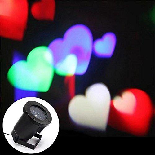 LUCKY CLOVER-A Weihnachten Projektor, Scheinwerfer Moving Lighting Outdoor Indoor Party Hochzeit Urlaub Dekor Nacht Licht (Heart/Star/Snowflake) , heart (Star Moving)