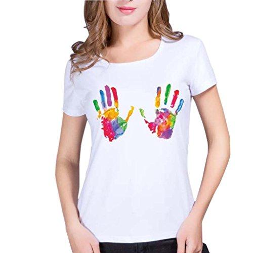 WOCACHI Damen Sommer T-Shirt Mode Frauen Plus Size niedlich Handabdruck Kurzarm O-Neck Weiß Tops T-Shirt Bluse (L/36, Weiß)