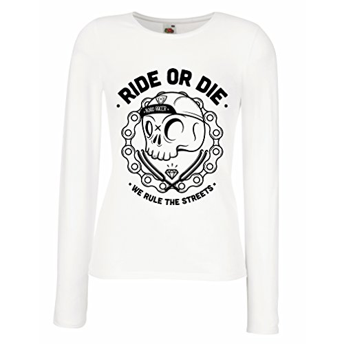 lepni.me N4611M Mangas largas Camiseta de la hembra Ride or Die (Small Blanco Multicolor)