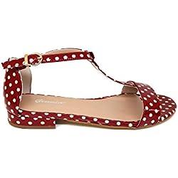 GENNIA Landcuvi Rojo Lunares Blancos - Sandalias para Mujer de Piel Charol y con Mini Tacón de 1 cm, Talla 40